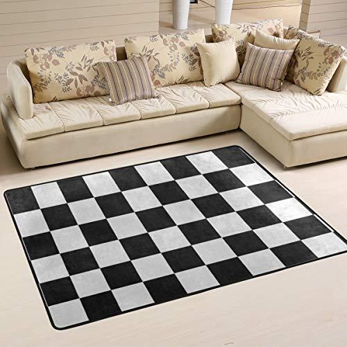 Area Rugs Carpet Doormats 72x48 inches Black White Checkered Living Room Bedroom Decorative Non-Slip Floor Mat ()