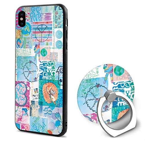 Peace Watercolor TPU Case Ring Bracket Compatible iPhone X Cover 5.8 Inch