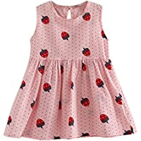 Girls Kids Sleeveless Cotton Fruit Printed Princess Dress(Pink 110)