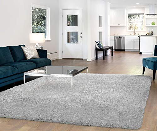 Vista Living Claudia Shag Area Rug 5ft. x 8ft., Light Silver