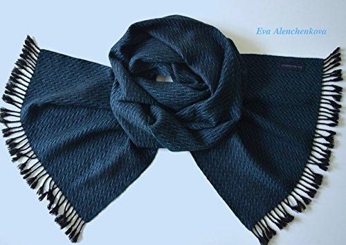 Men's Silk Cashmere Black Turquoise Blue Hand Woven Scarf by Eva Alenchenkova