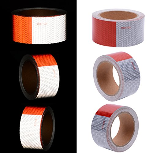 (DOT-C2 Safety Tape Reflective Tape Auto Car Red And White Adhesive Ultra Bright Honeycomb Polygonal Reflective Strip(2