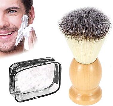 Brocha de afeitar con Pack estuche de viaje, pelo de tejón ultrasuave doble capa, brocha de afeitar madera de calidad natural, pack estuche impermeable: Amazon.es: Salud y cuidado personal
