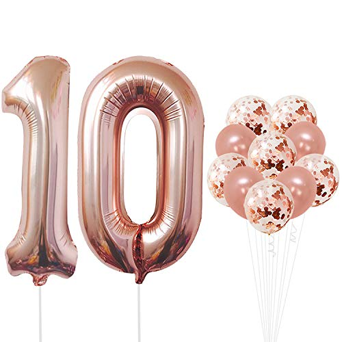 Bday Mylar Balloon - Rose Gold 10 Number Balloons Decorations - Extra Latex Balloons and Foil Mylar Ballons | 10th Birthday Party Decorations | 10 Year Party Supllies for Bday Decor, Anniversary, 32 Foot Balloons String