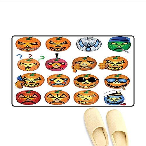 Doormat Carved Pumpkin with Emoji Faces Halloween Inspired Humor Hipster Monsters Artwork Bath Mats Carpet Orange 32