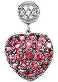 Petite Brazilian Garnet and Diamond Heart 14k White Gold Pendant