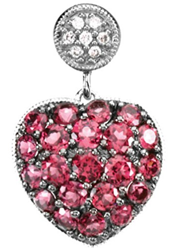 Petite Brazilian Garnet and Diamond Heart 14k White Gold Pendant by The Men's Jewelry Store (for HER)