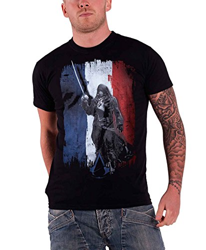 Assassin's Creed Unity French Flag Arno Official Mens Black T Shirt
