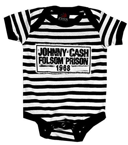 Johnny Cash Folsom Prison Baby Onesie, Black / White Stripes (12-18 Months - Onesie Cash