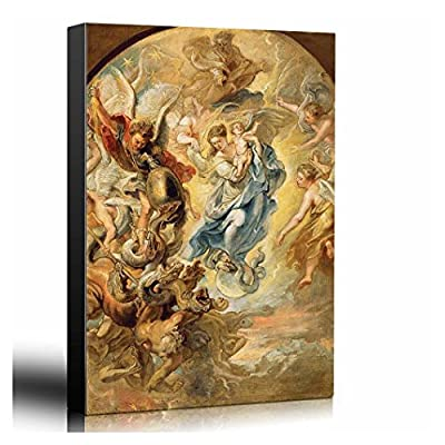 Made For You, Astonishing Print, Oil Painting of The Virgin as The Woman of The Apocalypse by Peter Paul Rubens in 1624 Baroque Style Angels Catholic