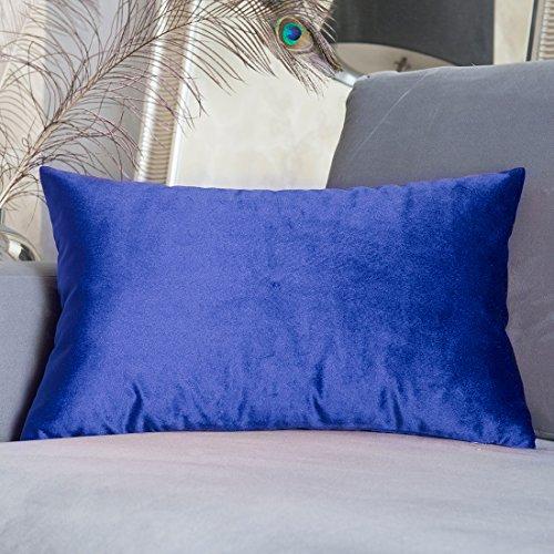 HOME BRILLIANT Luxury Velvet Lumbar Toss Throw Pillowcase Cover Accent Cushion Cover for Toddler/Sofa/Chair, 30 x 50 cm, Royal (Oblong Decorative Pillow)