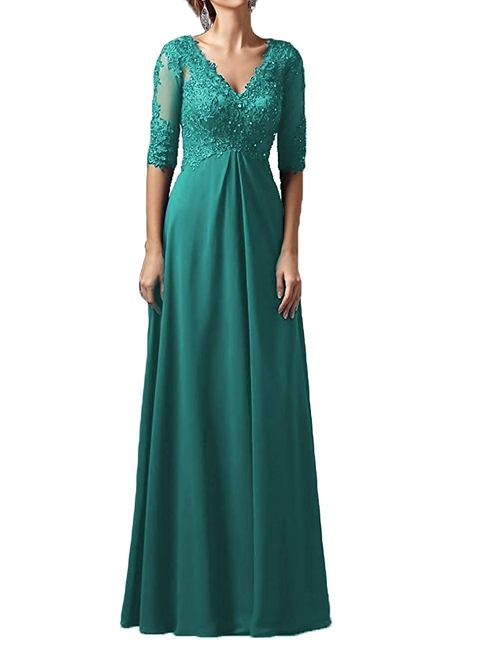 Peacock Mother Dress Long Sleeves V Neck Plus Size Mother of The Bride Dress Formal Party Evening Gowns
