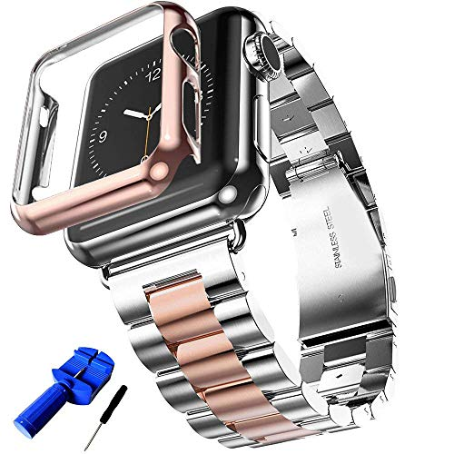 PUBAMALL Correa Para Apple Watch 42mm 38mm Series 4/3/2/1, Acero Inoxidable Reemplazo +funda Cover para Apple iWatch , Sports...