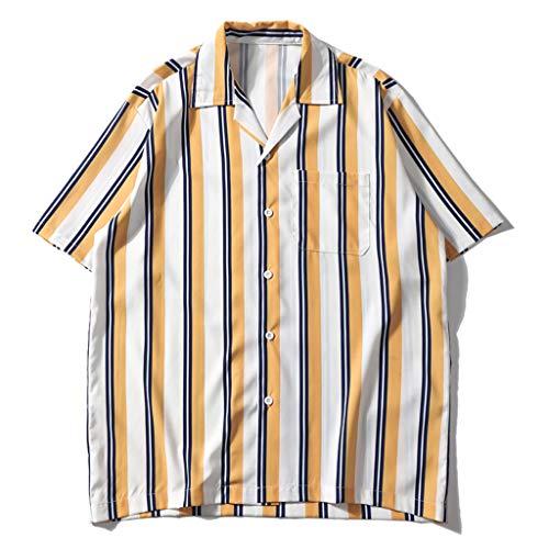 HYIRI Men's Summer Loose Shirts Casual Short Sleeve Striped Tops Loose Casual Blouse Yellow