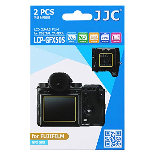 JJC 2PCS PET Film Anti-Scratch Screen Protector for Fuji Fujifilm GFX 50S, GFX 50R, GFX50S, GFX50R Medium Format Mirrorless Camera, Includes Shoulder Screen/Sub-Screen Protector