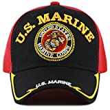 THE HAT DEPOT Licensed Embroidered Military One Size Cap (Blk/Red-U.S.Marine)