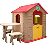 LittleTom childrens Playhouse incl 1 table 2 benches for boys and girls small plastic House for indoors and outdoors Brown Beige