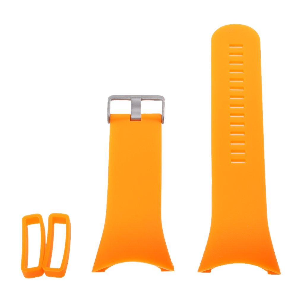 monkeyjackスマートウォッチアクセサリー、シリコン腕時計バンドクロームクラスプ付き&ツール交換用for Suuntoすべてブラック  オレンジ B0754B4CL3