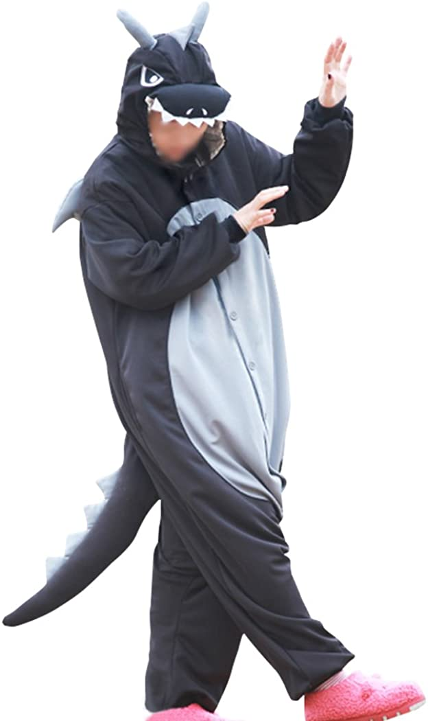 Lifeye Men Women Black Dragon Pajamas Animal Cosplay Costume: Clothing