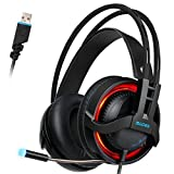 SADES R2 Virtual 7.1 Channel Surround Sound headphones with Retractable Mic USB PC Gaming Headset Stereo Professional headsets for PC Latop LED Light(Black)
