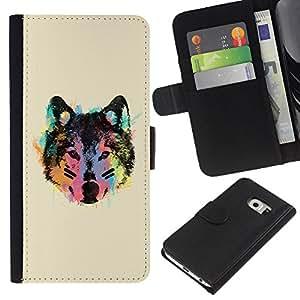 KLONGSHOP // Tirón de la caja Cartera de cuero con ranuras para tarjetas - Cara de neón del lobo - Samsung Galaxy S6 EDGE //