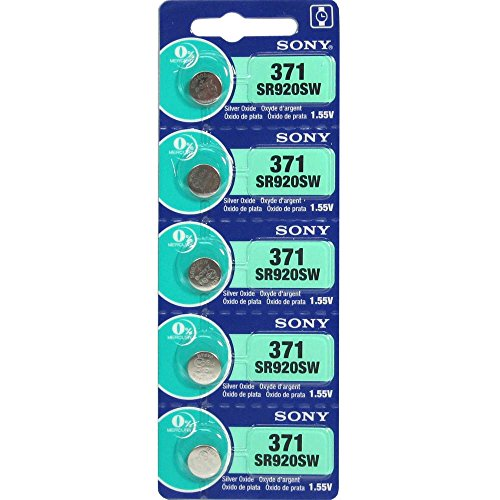 Mercury Battery Replacement - Sony 371 (SR920SW) 1.55V Silver Oxide 0%Hg Mercury Free Watch Battery (5 Batteries)