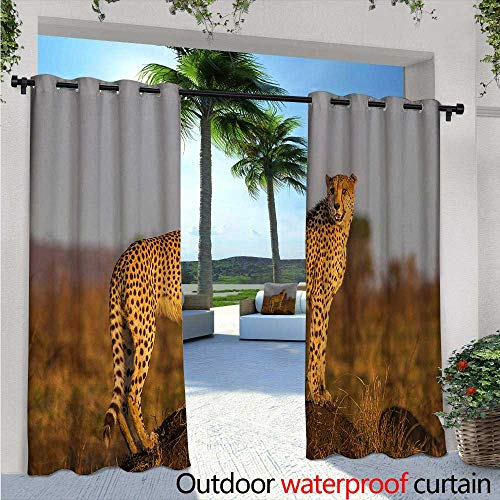 "Safari Outdoor Privacy Curtain for Pergola W72"" x L84"" African Wild Animal Cheetah Standing on Termite Mound Savannah Nature View Thermal Insulated Water Repellent Drape for Balcony Ginger Apricot Du from BlountDecor"