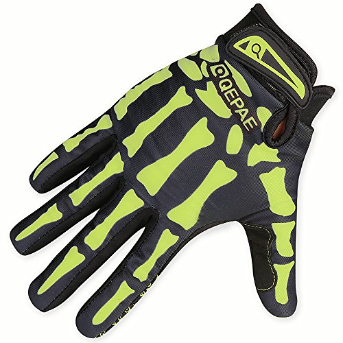 Eizur Cycling Skeleton Gloves Outdoor Sport Bike Motorcycle MTB Full Finger Cycling Riding Motorcycle Protective Hand Gloves For Women Men--Green-L
