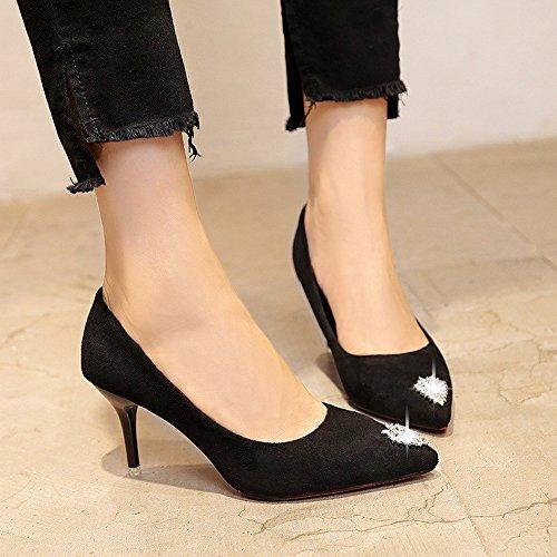 de Zapatos con Trabajo la Delgado Zapatos de Y Zapatos Negro Rojo Otoño de Zapatos de de Tacón 37 Europeo Americano DIDIDD Negro Puntiagudo Boda Tacón qwXPn1v