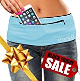SevenBlu HIP - Fashion Money Belt / Extra Pocket / Running Belt - World's Best Stylish Travel Wallet or Mini Purse - with ZIPper - Fits iPhone 6 Plus - Your Smartphone Pocket (Aqua XXL)