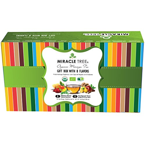Miracle Tree - Gift Box with Organic Moringa Superfood Tea, 96 Individually Sealed Tea Bags (8 Flavors: Original, Green Tea, Ginger, Lemon, Mint, Mango, Strawberry & Apple/Cinnamon)