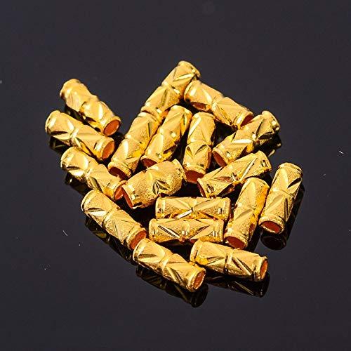 FidgetKute 1pcs Pure 999 24k Yellow Gold Bead Men Women Lucky Carved Tube DIY Pendant A 0.1g