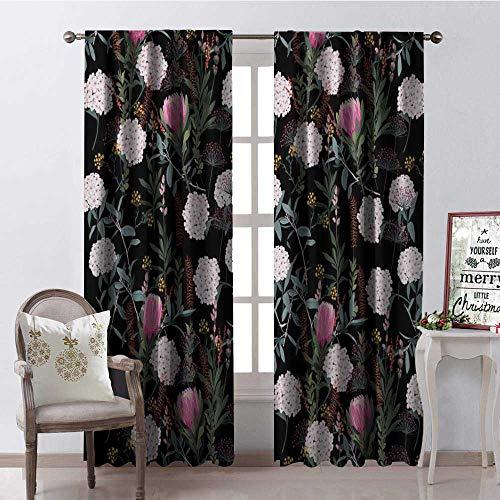 Hengshu Black Hydrangea Window Curtain Fabric Drapes for Living Room W84 x L84