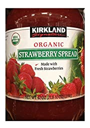 Kirkland Signature Organic Strawberry Spread - 42 Oz (2lb), Made with Fresh Strawberries, 65% Fruit, Preserves, Jam