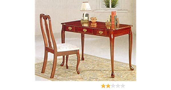 Queen Anne Desk >> Amazon Com Queen Anne Style Writing Desk Table Chair Set