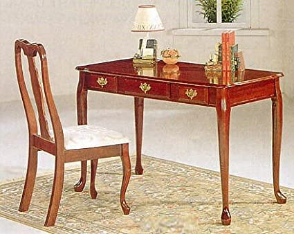 Queen Anne Desk >> Amazon Com Queen Anne Style Writing Desk Table Chair Set W Brass