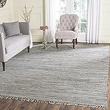 Safavieh RAR121A-4SQ Rag Rug Collection Hand Woven Grey Cotton Area Rug, 4-Feet Square