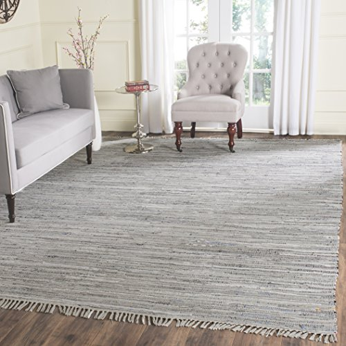 Safavieh Rag Rug Collection RAR121A Hand Woven Grey Cotton Area Rug (6' x 9')