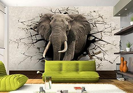 Wxlsl 3D Papier Peint /Él/éphant Murale Tv Mur Fond Mur Salon Chambre Tv Fond D/Écran Mural-150Cmx105Cm