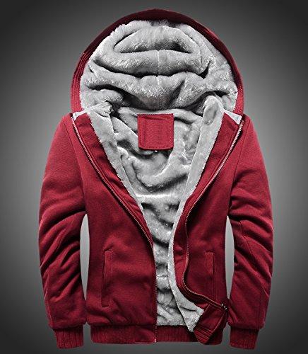 Per Rosso Invernale Giovani Maniche Pelliccia Cappuccio Lunghe Cerniera Uomo Felpa I Cappotto Giacca Di Con Panegy wqUxZYCS