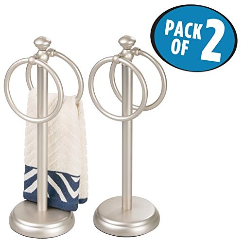 mDesign Double Sided Towel Holder Stand for Bathroom Vanity Countertops - Pack of 2, Satin by mDesign