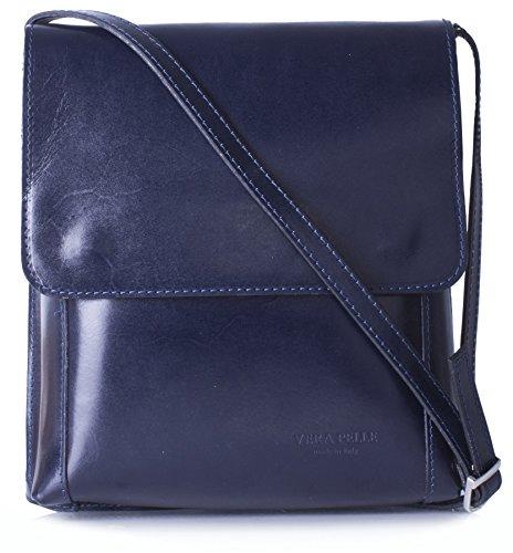 Big Handbag Shop mittelgroße Damen Schultertasche Cross Body aus echtem itelienischem Leder Navy - Plain G8umgXRt