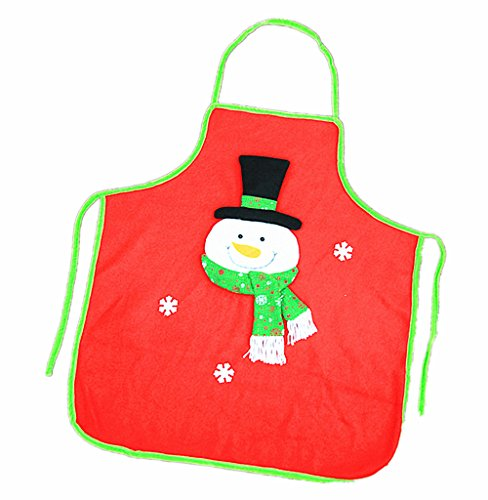 Kinteshun Christmas Apron Adult Flannel Pinafore Xmas Holiday Decoration Costume Supplies(1pc,Snowman Pattern)