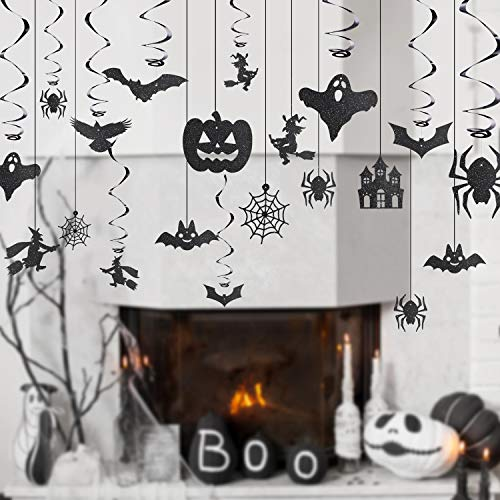 Jovitec 30 Pieces Halloween Party Supplies Witches Bats Spiders Swirl Ceiling Foil Hanging Decoration Glitter Creepy Creatures for Haunted House Decoration