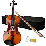 Z ZTDM Solid Wood Viola with Case, Bow, Rosin (15 inch, Satin Antique)