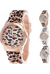 Yunanwa Wholesale 4 Assorted Women Watches Leopard Silicone Watch Jelly Girl Wristwatch Geneva Dress