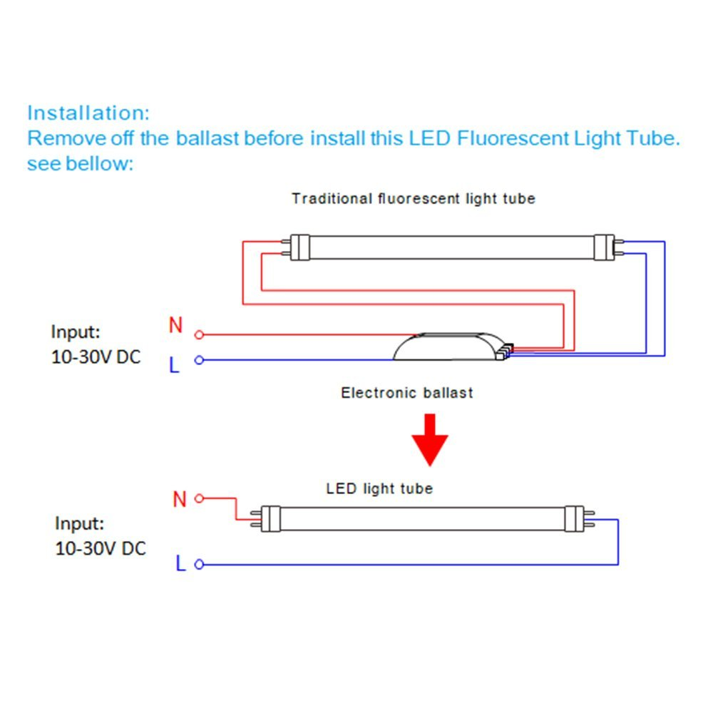 Dc Wiring Led Tube Light Car Diagrams Explained Wire T8 Legelux T5 12 5w 12v 500lm 6000k Perfect F8t5 Rh Amazon Com Bulbs