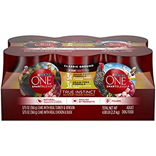 Purina ONE Grain Free, Natural Pate Wet Dog Food Variety Pack, SmartBlend True Instinct - (6) 13 oz. Cans