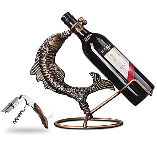 Inmount Wine Rack with Corkscrew Set, Decorative Tabletop Wine Bottle Holder, Stainless Steel & Wood Opener, Artistic Retro Vintage Bronze Tone Metal Fish Wine Stand