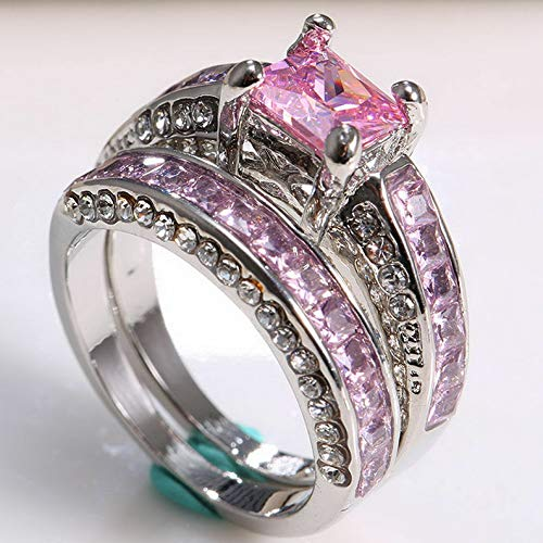 Endicot Women 925 Silver Pink Sapphire Wedding Engagement Party Prom Ring Set Size 6-10 | Model RNG - 17836 | 10